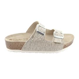 Dámské béžové pantofle Inblu NM013 se stříbrnými fleky