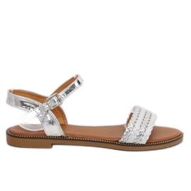 Šedá Dámské stříbrné sandály K-11 Silver