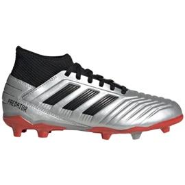 Kopačky adidas Predator 19.3 Fg Jr G25795 stříbro šedá / stříbrná