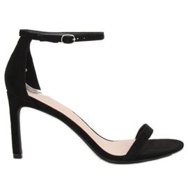 Sandály na jehlovém podpatku černé NF-31P Black černá