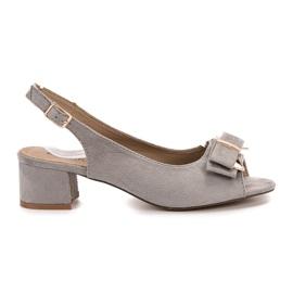 Evento šedá Elegantní sandály na vysokém podpatku