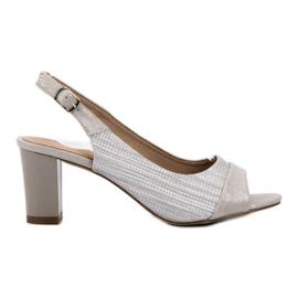 Evento šedá Elegantní stříbrné sandály