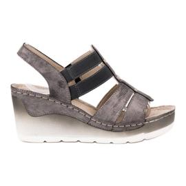 Goodin šedá Pohodlné klínové sandály