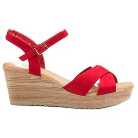 Best Shoes červená Lehké semišové sandály