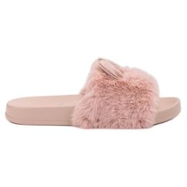 Vinceza růžový Růžové pantofle s kožešinou
