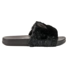 Vinceza černá Černé Pantofle S Kožešinou