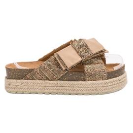 Vices hnědý Textilní Pantofle Na Platformě