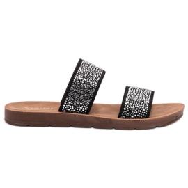 Seastar černá Pantofle se zirkony