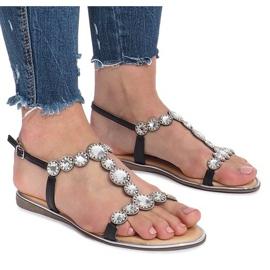 Černé ploché sandály s diamanty Indulge černá