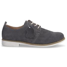 Šedá Krajkové kožené boty LJ12 Grey