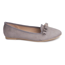 Semišové baleríny s lukem 1188-5 Grey šedá