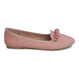 Semišové baleríny s lukem 1188-20 růžová růžový