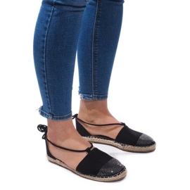 Černá Sandály Espadrilles Baletní boty Balerinki 6333 Black