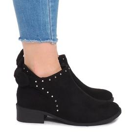 Semišové kožené kotníkové boty LL230 Black černá