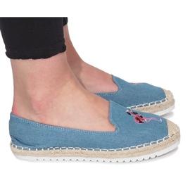 Modré espadrilles planoucí džíny modrý