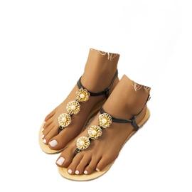 Černé ploché sandály s perlami Okra černá