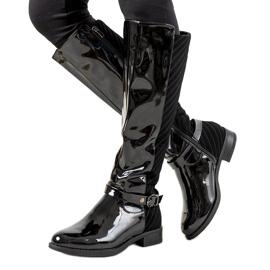 Černá Černé lakované boty W-93
