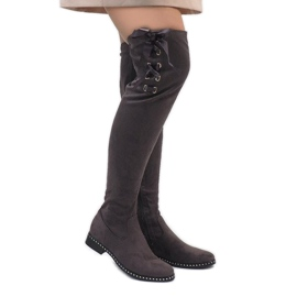 Foreverfolie šedá Šedé semišové kožené boty H308