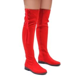 Foreverfolie červená Červené semišové teplé boty H308