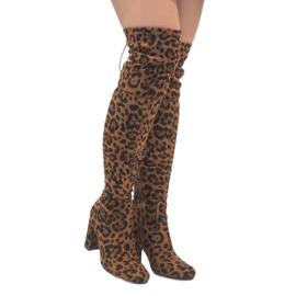 Leopard boty na post přes koleno E5116