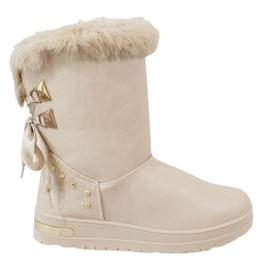 Hnědý Dámské béžové sněhové boty AN-107