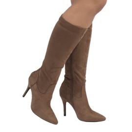 Hnědý Taupe boty na jehlové patě 1101-2