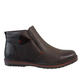 Hnědý Hnědé kotníkové boty A20184-3