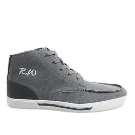Šedá elegantní vysoká obuv F10455