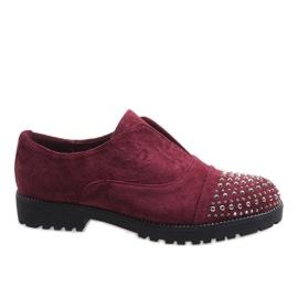 Červená Vínové pantofle s čepy 22-2