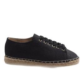 Černé espadrilles laced 831-1 černá