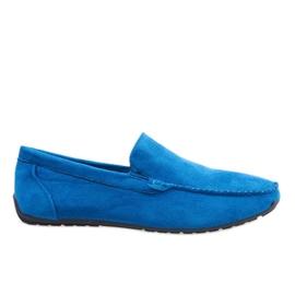 Modrý Tmavě modré elegantní mokasíny boty AB07-6