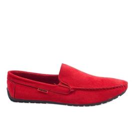 Červená Červené elegantní mokasíny AB96K-2