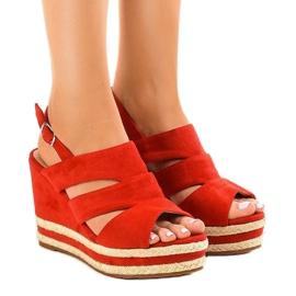 Červené espadrily FG6 klínové sandály červená