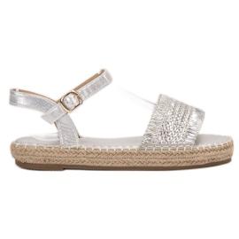 Small Swan šedá Stříbrné sandály