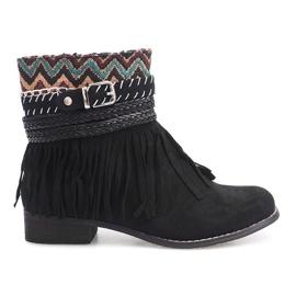 Hnědý Izolované boty Boho Fringe 7303-1 Black