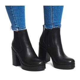 Černá Kotníkové boty s elastickým pásem X9098 Black