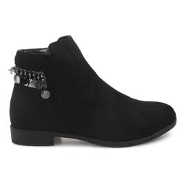 Černá Semišové kožené boty LL113 Black