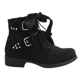 Černá Semišové kotníkové boty s luky QQ660 Black