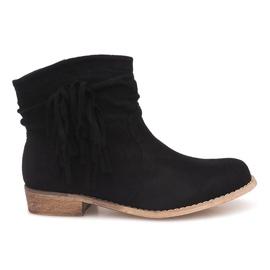 Černá Semišové kotníkové boty ZY9040 Black