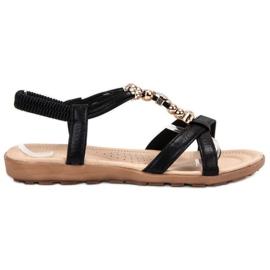 SHELOVET černá Ploché Sandály S Dekoracemi