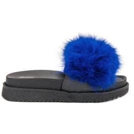 SHELOVET modrý Pantofle s kožešinou