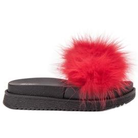 SHELOVET červená Pantofle s kožešinou