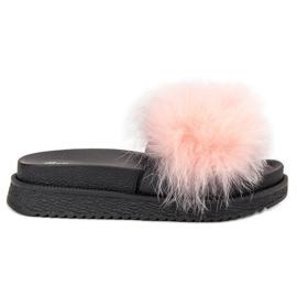 SHELOVET růžový Pantofle s kožešinou