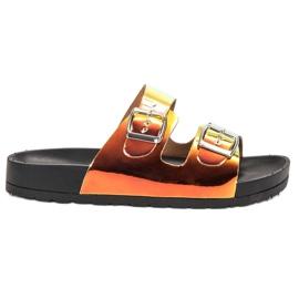 Ideal Shoes žlutý Pantofle s přezkou Holo