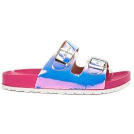 Ideal Shoes šedá Pantofle s přezkou Holo
