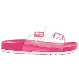 Ideal Shoes růžový Průhledné klapky Se spony