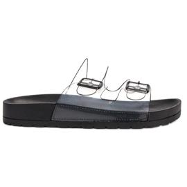 Ideal Shoes černá Průhledné klapky Se spony