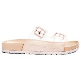 Ideal Shoes hnědý Průhledné klapky Se spony
