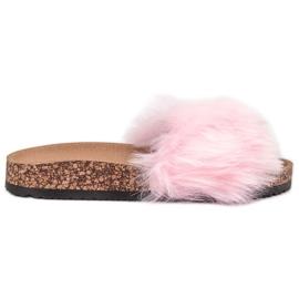 Bona růžový Pantofle s kožešinou