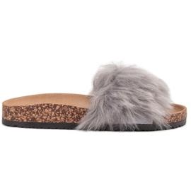 Bona šedá Pantofle s kožešinou